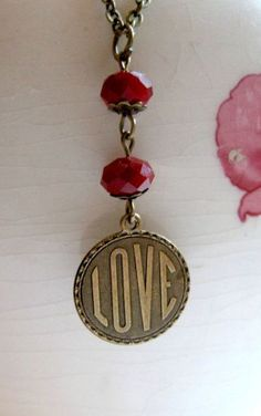 Valentine necklace love charm vintage style red