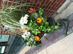 Fall outdoor(like how you put small pumpkins in flower pots you use all summer)