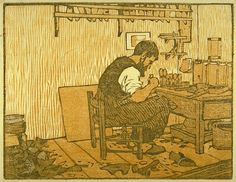 Gustave Baumann, The Shoemaker, 1908, color woodcut