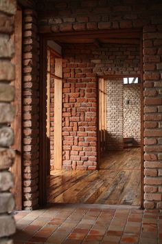 View from inside one of the rooms of the Kyambura Gorge Lodge, Queen Elizabeth National Park, Uganda, Architects: Regional Associates. Brick Art, Brick And Wood, Brick Tiles, Brick Flooring, Brick And Stone, Brick Building, Building Design, Building A House, Brick Architecture
