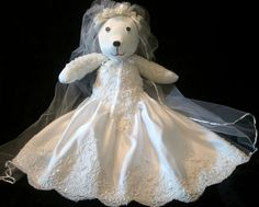 your wedding dress turned into a Memory Bear  Fallow me on Facebook: Creative Crafts by Dawn