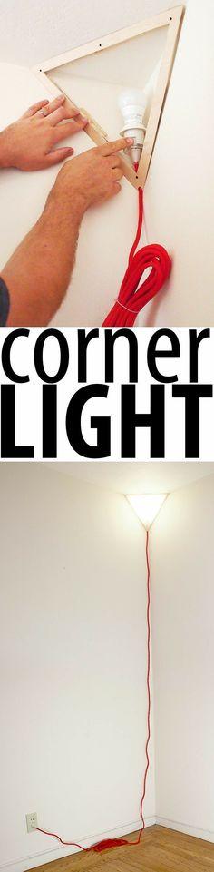 Plans of Woodworking Diy Projects - Géniale cette lampe de coin Get A Lifetime Of Project Ideas & Inspiration! Diy Luz, Corner Lamp, Art Corner, Deco Luminaire, Ideias Diy, Woodworking Projects Diy, Deco Design, Home Projects, Craft Projects