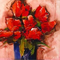 """Where ART Lives Gallery Artists Group Blog: Abstract Flower Tulip Art Painting """"Tulip Party"""" by Colorado Mixed Media Artist Carol Nelson"""