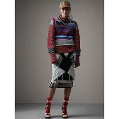 Knitted Wool Cross-panel Skirt in White/black - Women   Burberry
