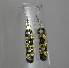 ear147 #Black and #Gold Byzantine #Earrings. $10.00, via #Etsy.  #handmade #chainmaille #jewelry #fashion #style