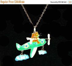 New Listings Daily - Follow Us for UpDates -  ❘❘❙❙❚❚ March Madness SALE ❚❚❙❙❘❘     Sterling & Enamel Airplane Pendant - Silver Chain Necklace with Trailing Clouds, and Kitty Cat Pilot - Prop Plane - Green and White off... #vintage #jewelry #teamlove #etsyretwt #ecochic