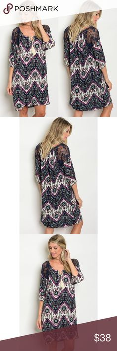 Paisley Chevron Boho Dress Paisley Chevron Boho Dress with Lace Shoulder Detail Glamvault Dresses