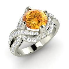 Round Citrine Ring in 14k White Gold with SI Diamond
