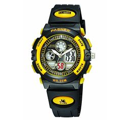 Pixnor PSE-048G Multi-functional Wateproof Unisex Boys Girls Dual Time Display LED Digital Analog Sports Wrist Watch with Date Alarm Stopwatch EL Backlight Rubber Band (Yellow)