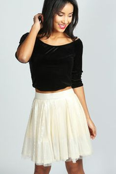 Fleur Sequin Mesh Underlay Skirt at boohoo.com || fun going out skirt; wish there were other colors (gold)