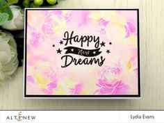 Brilliant watercolor technique and floral cluster design! The sentiments and stars are surely standing out in the beautiful colors at the background. Visit our blog to learn more about this card. http://altenewblog.com/2016/11/28/stamp-focus-happy-dreams-stamp-set/