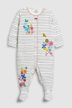 0f3e6b3556b5 Buy Multi Stripe Floral Embroidered Sleepsuits Three Pack (0mths-2yrs) from  Next Turkey