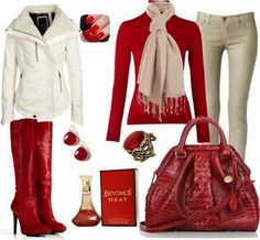 Red Top & Khaki Pants Outfit. - Like everything but the boots.