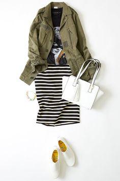 ルミネ横浜の店頭アイテムから、アートなプリントアイテムに挑戦! プリントTとボーダースカートでアイコニックなスタイルに。人気スタイリストMeguさんがシンプル服にトレンド小物を合わせた、今どき感たっぷりのキレ味のあるコーディネートを提案します!