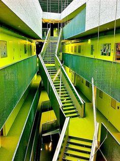 by Caramel Architekten. love this idea for a stairway. switching sides (Hogwarts, anyone? Johannes Kepler, Gothic Architecture, Stairways, Austria, Caramel, University, Exterior, Hogwarts, Building