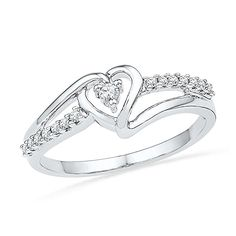 Sterling Silver White Round Diamond Fashion Ring CTTW) -- Special product just for you. Silver Diamonds, Round Diamonds, Rings Pandora, Heart Promise Rings, Heart Rings, Fine Jewelry, Women Jewelry, Jewelry Shop, Wedding Rings Solitaire