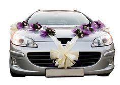 wedding car decorations - purple themed floral corsages
