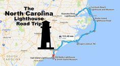 The Lighthouse Road Trip On The North Carolina Coast That's Dreamily Beautiful Oak Island Lighthouse, Ocracoke Lighthouse, Ocracoke Island, Cape Hatteras Lighthouse, Nc Lighthouses, North Carolina Lighthouses, North Carolina Coast, East Coast, Map Of Nc Coast