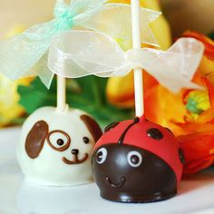 Puppy Ladybug Brownie Pals - brownie cake balls -also have them in birdie, elephant, goldfish & a baby face - adorable for V-day or baby shower or kids birthday see: http://www.beau-coup.com/party/brownie-pals-party-favors.htm