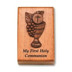 Especially great for little boys - a durable wood keepsake box and place to hold prayer cards or a rosary.