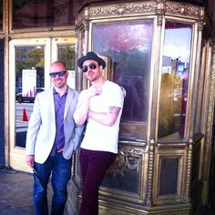 Outsider and Sirk Productions CEOs Max Yampolsky and Marc Perez chillin' pre-premiere of The Champion on Saturday, outside of the gorgeous Landmark Loews.