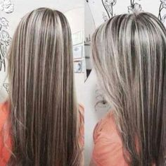 The ombre hair trend has been seducing for some seasons now. More discreet than tie and dye, less classic than sweeping, this new technique of hair. Gorgeous Hair Color, Cool Hair Color, Grey Hair Transformation, Gray Hair Highlights, Transition To Gray Hair, Long Gray Hair, Brown Blonde Hair, Hair Shades, Pinterest Hair