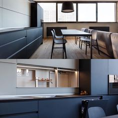 In this by the sleek hides everything away, leaving you to wonder where it all is, including the kitchen Once the sliding doors are moved, you can see everything perfectly tucked away until needed. Interior Design Kitchen, Sliding Doors, Ukraine, Architects, Kitchens, Instagram Posts, Table, Faucet, Furniture
