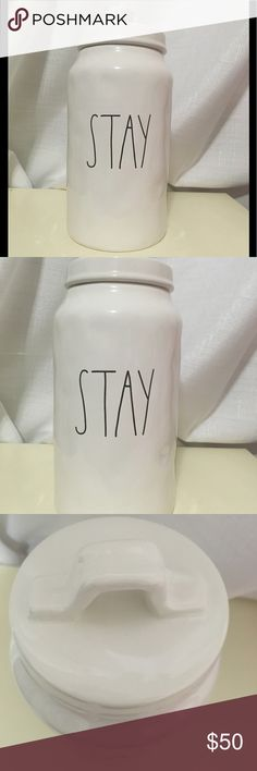 """Rae Dunn large """"stay""""canister Rare. Brand new. No cracks or chips. Experienced in shipping ceramic and fragile items. Not responsible for damaged items caused by USPS. Rae Dunn Other"""