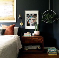 my scandinavian home: bedroom with dark blue walls in the cosy modern bohemian home of Megan Schlachtenhaufen