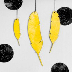 Image of Yellow Feathers Wall Hanging Yellow Feathers, Wall, Image, Walls