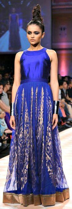 Anita Dongre - sapphire blue brocade gown