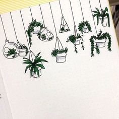 Cute easy-to-draw hanging plant doodles. I'm adding these to my bullet journal planner! Plant Drawing, Drawing Base, Pencil Sketch Drawing, Pencil Drawings, Drawing Pin, Bujo Doodles, Easy Doodles, Easy Doodle Art, Sketch Note