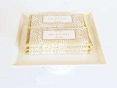 Personalized Floral Hershey Chocolate Bar Wrappers and Gold Foils by Tableau Party  |  www.tableauparty.com