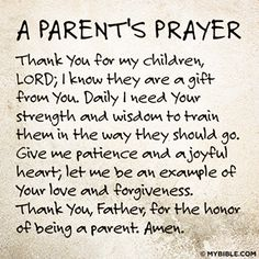 A parent's prayer...