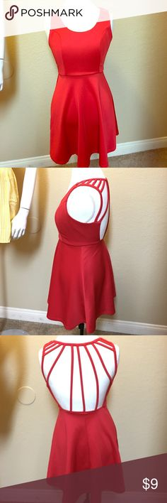 Red dress Size small worn once to a birthday party then it just sat in the closet lol. My part of the dress is that It has a open back. Great for parties and going out. Dresses Mini