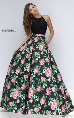 2016 Sherri Hill 50337 Two Piece Floral Prom Dress Sexy