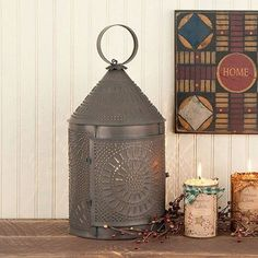 Large Fireside Colonial Lantern with Chisel Pattern in Blackened Tin Finish