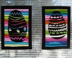 A3 paperi/kartonki, johon keskelle piirretään melko matala, mutta leveä pääsiäismuna. Sitten leikataan muna kuvioineen irti. Taustaa varten revitään silkkipaperisuikaleita, jotka liimataan toisiinsa ja kehyksiin. Huomioitava on, että reunat pysyvät liimausvaiheessa suorassa. Ne voi vaikka teipata alustaan. Easter, Bujo, Painting, Kunst, Painting Art, Paintings, Drawings