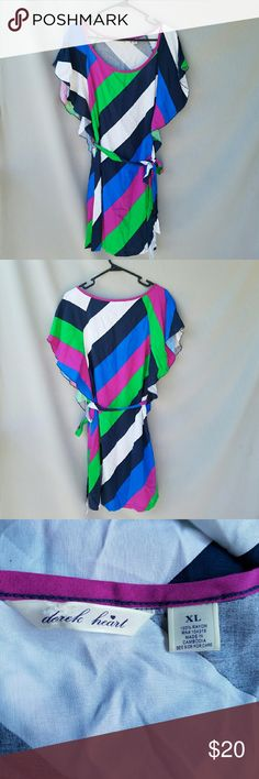 Derek Heart Multicolored Striped Dress Diagonal stripes super flattering! Excellent condition  Feel free to ask me any additional questions! 3+ bundles 15% off. Happy Poshing! Derek Heart Dresses