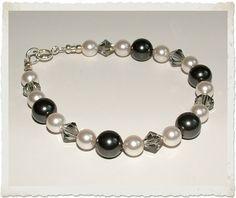 Monochrome Black & White Swarovski Pearl & Crystal Bridesmaid Jewellery Set