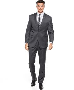 Calvin Klein Charcoal Solid Slim-Fit Suit