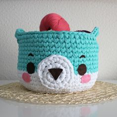 Cesta de Trapillo de osito | CrochetyAmigurumis.com Color Menta, Crochet Gratis, Basket, Teddy Bear, Baby, Mesh, Fabric Glue, Magic Ring, Chain Stitch