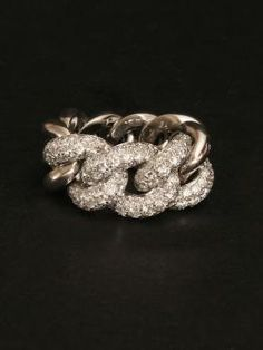 Pomellato White Gold Link Ring. 18k White Gold Link Ring with Diamonds. Available at London Jewelers.