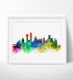 Dallas City Skyline, Dallas Cityscape, Dallas Print, Texas Watercolor Art, Watercolor Painting, Dallas City Art, Poster, Skyline Art(222)