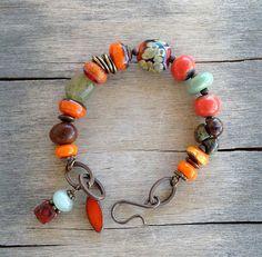 Earthy Green Orange Lampwork Bead Brass Bracelet with Ceramic Beads, Green Garnet Gemstone, Picasso Czech Glass Beads