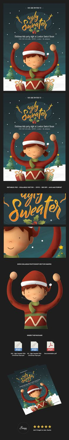 Ugly Sweater Kids Christmas Flyer template for Photoshop perfect to promote your kids christmas party, christmas celebration, or any christmas events. #graphicriver #adobe #photoshop #flyer #poster #template #christmas #xmas #ugly #sweater #kids #winter #snow #design #graphic #banner