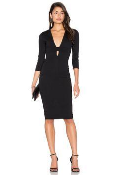ddc1dc09a4d Donna Mizani Banded Deep V Midi Dress in Black