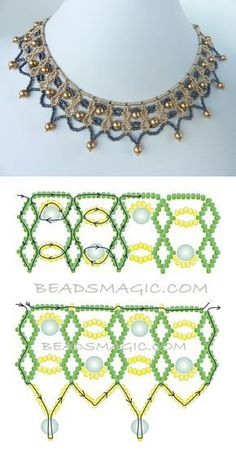 FREE beading pattern for necklace Two-Tone Lacy Net 11/0-6mm