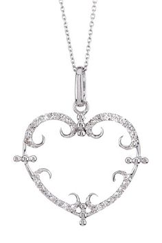 14K White Gold Diamond Demi Vintage Heart Pendant Necklace - 0.15 ctw by Demitasse Jewelry on @HauteLook
