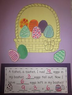 """A Tisket, A Tasket"": Easter Basket Subtraction Craftivity. I would change it to fractions I think! Preschool Math, Kindergarten Activities, Fun Math, Math Art, Maths, School Holidays, School Fun, Spring School, Middle School"